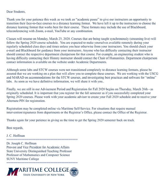 Letter from the Provost